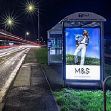 Picture of a bus shelter with advertising screen on the side