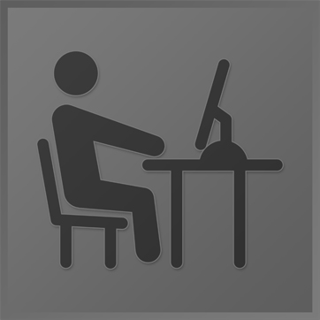 An icon showing a person sitting at a desk with a computer