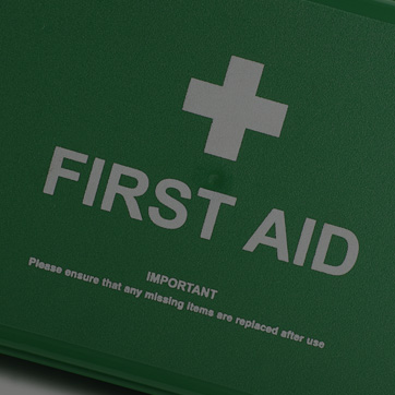 A photograph of a first aid kit